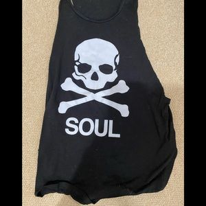 Soul cycle black tank with skull small
